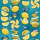 Pop art citrus addiction // teal background blue lips yellow lemons and citrus fruits by SelmaCardoso