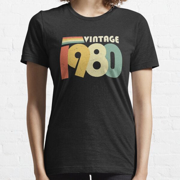 Vintage 1980, 40th Birthday Gift Distressed Design Essential T-Shirt