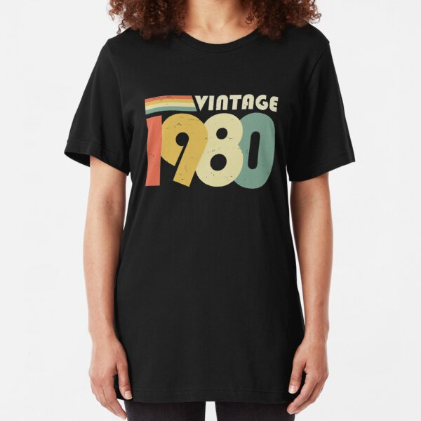 Vintage 1980, 40th Birthday Gift Distressed Design Slim Fit T-Shirt
