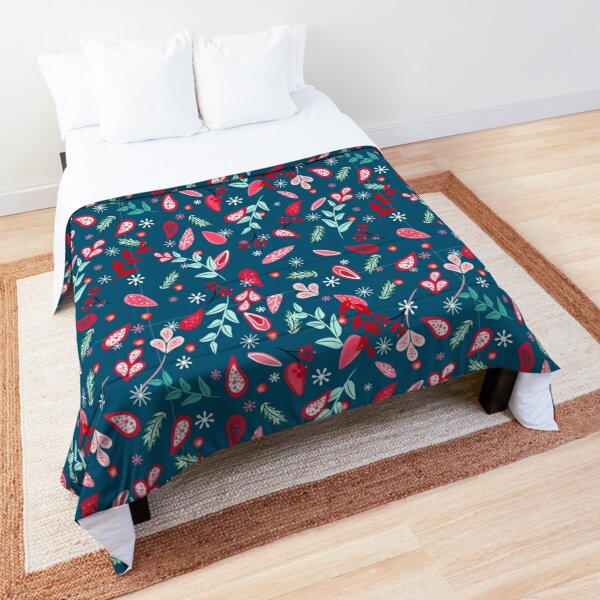 Christmas blossom pattern blue background Comforter