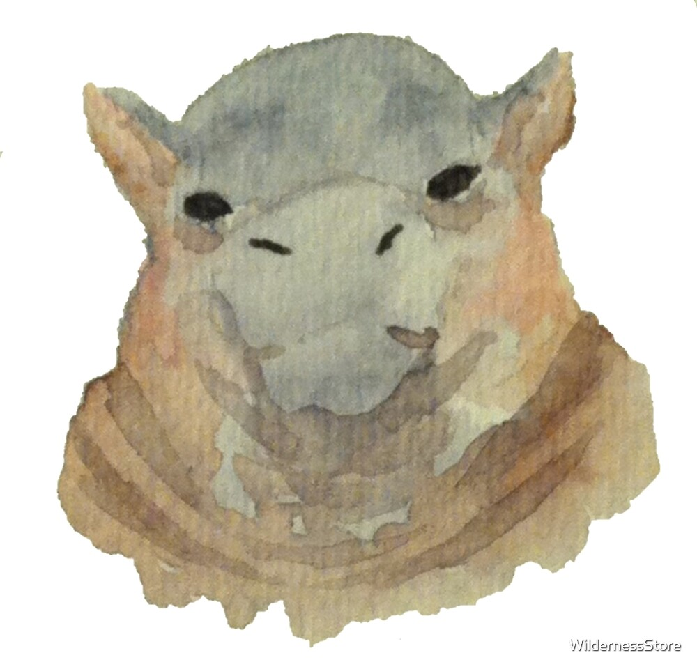 Baby Hippo Watercolor Painting by WildernessStore