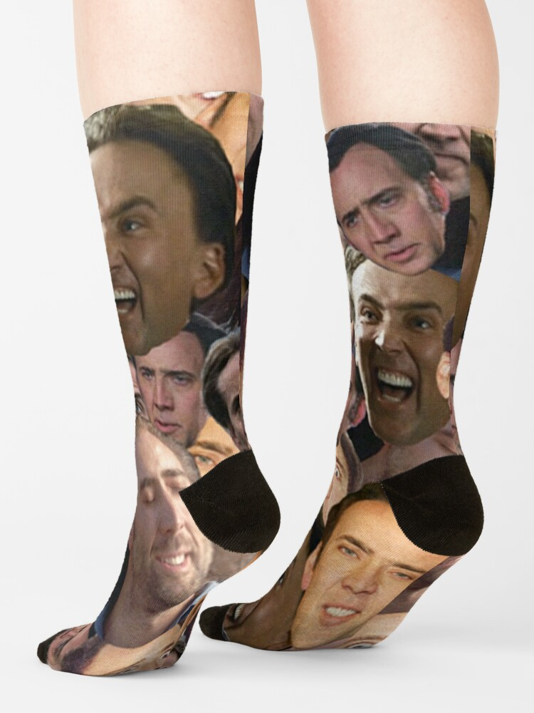 Alternate view of Nicolas Cage face collage t shirt Socks
