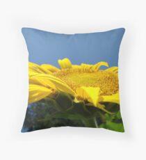 Sunflower Floral Garden art prints Blue Sky Throw Pillow