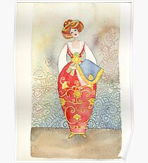 Illustration, Albanian traditional  costume Poster