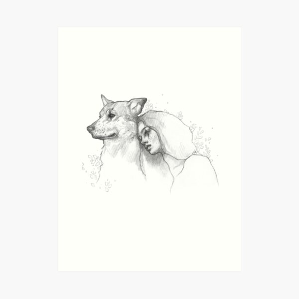 Girl and Dog - Black& White Pencil Line Sketch - Drawing by MadliArt Art Print