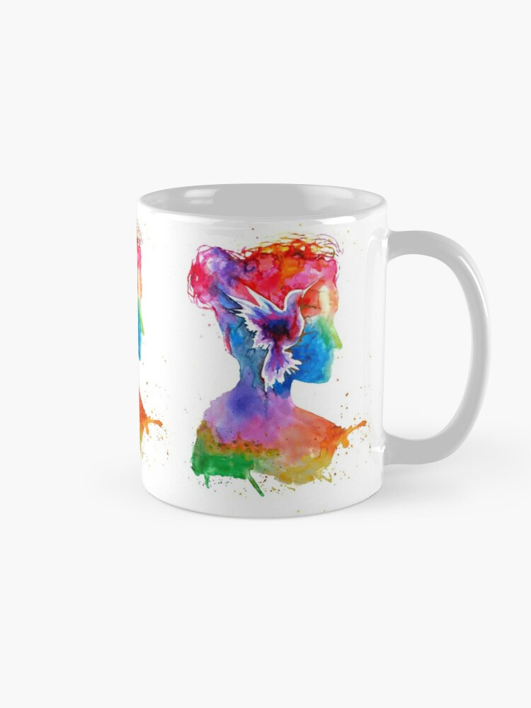 Alternate view of Inner Lands - Woman Silhouette with bird Mug