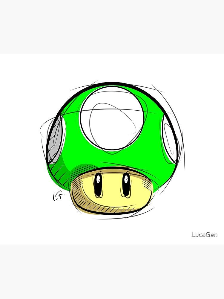 1up Mushroom Sketch Super Mario Nintendo Digital Drawing Duvet Cover By Lucagen Redbubble