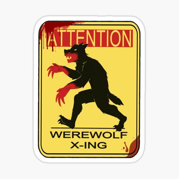 Caution Werewolf Sticker