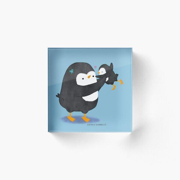 Penguin Mom and Penguin Kid Acrylic Block