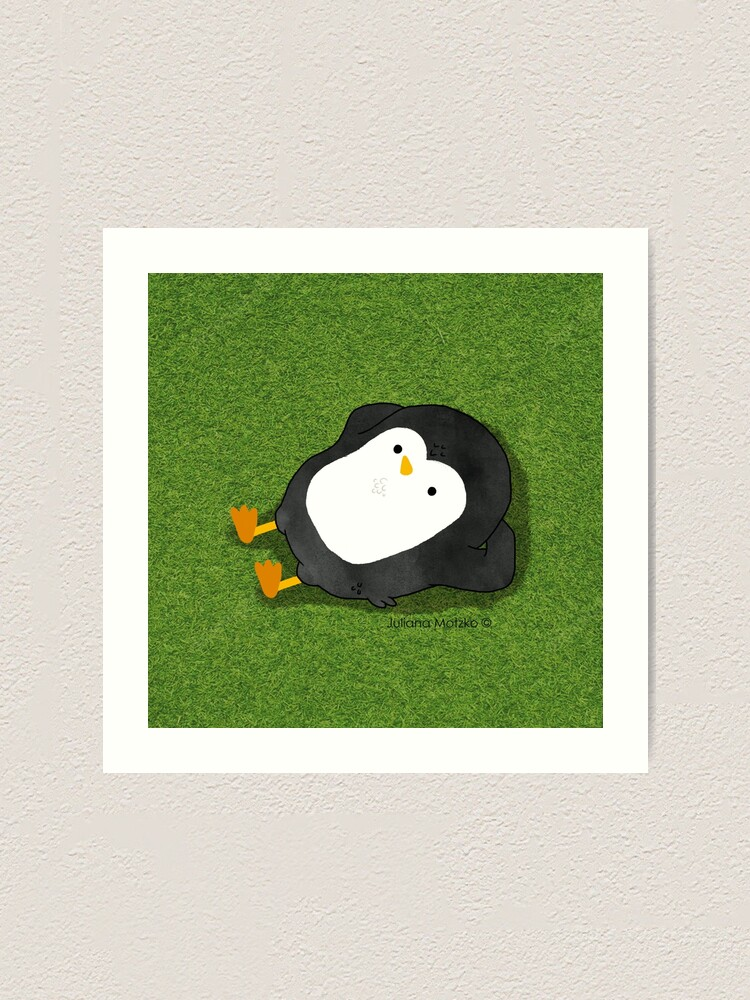 Alternate view of Penguin Laying on the grass Art Print