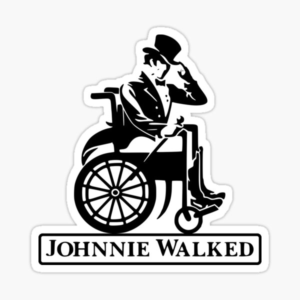 Johnnie Walked Pegatina brillante