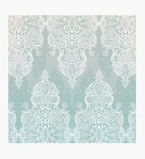 Lace & Shadows - soft sage grey & white Moroccan doodle Photographic Print