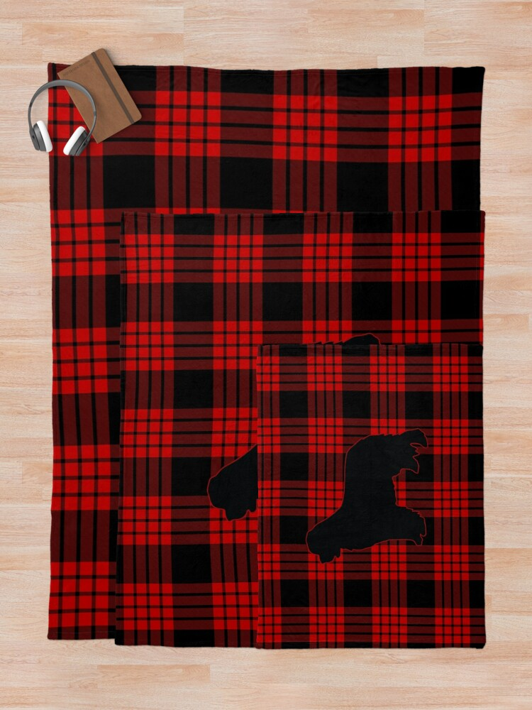 Alternate view of Red Plaid Newfie Throw Blanket