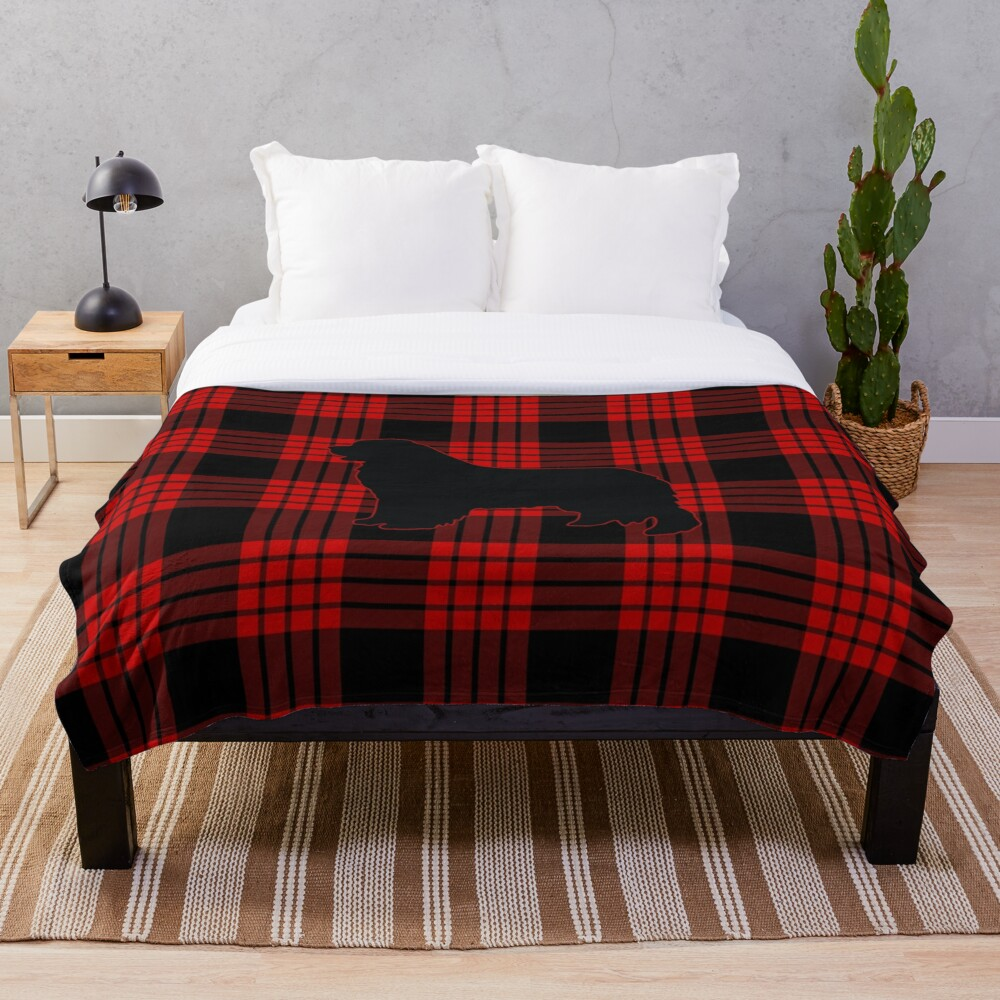 Red Plaid Newfie Throw Blanket