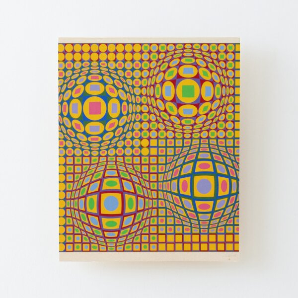 Op Art. Victor #Vasarely, was a Hungarian-French #artist, who is widely accepted as a #grandfather and leader of the #OpArt movement Wood Mounted Print