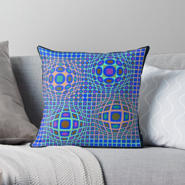 Op Art. Victor #Vasarely, was a Hungarian-French #artist, who is widely accepted as a #grandfather and leader of the #OpArt movement Throw Pillow