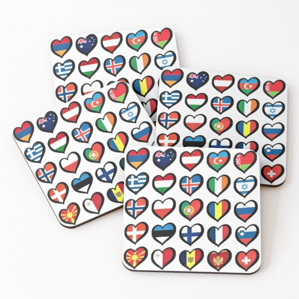 EBU Logo Eurovision Hearts  European Flags On Shirts Bags And Gadgets Coasters (Set of 4)