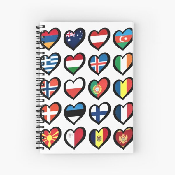 EBU Logo Eurovision Hearts  European Flags On Shirts Bags And Gadgets Spiral Notebook