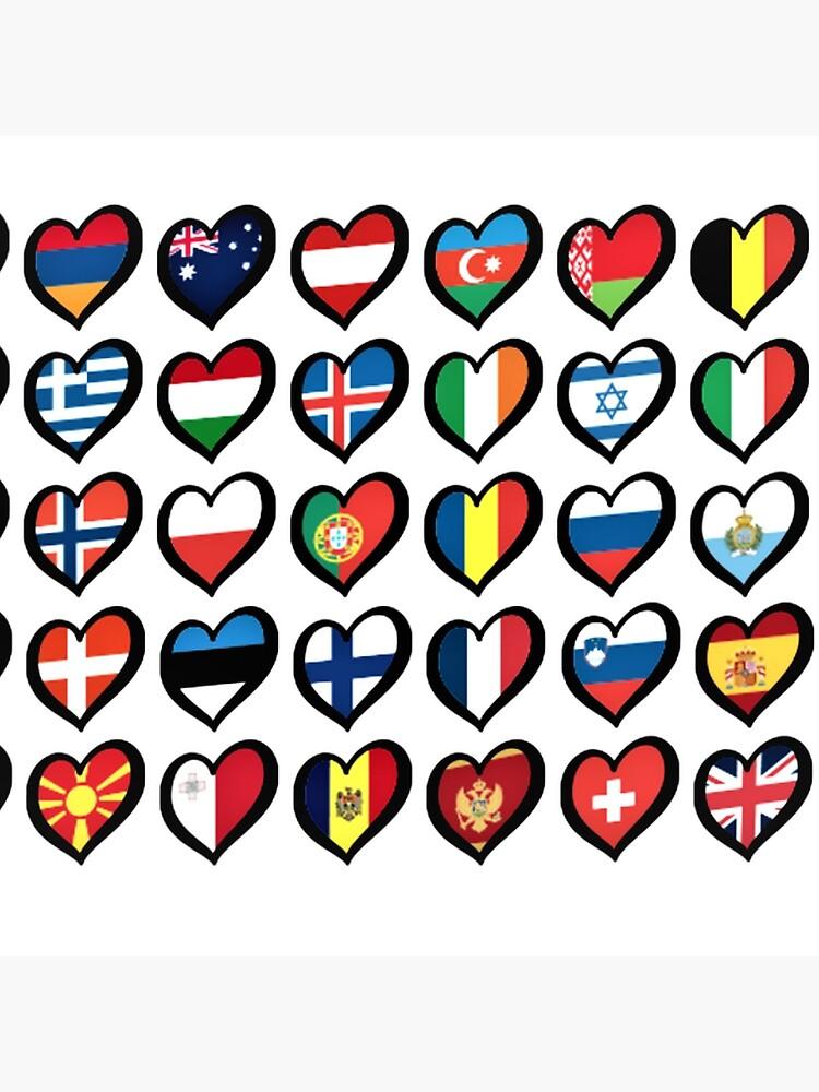 EBU Logo Eurovision Hearts  European Flags On Shirts Bags And Gadgets by leo-theo