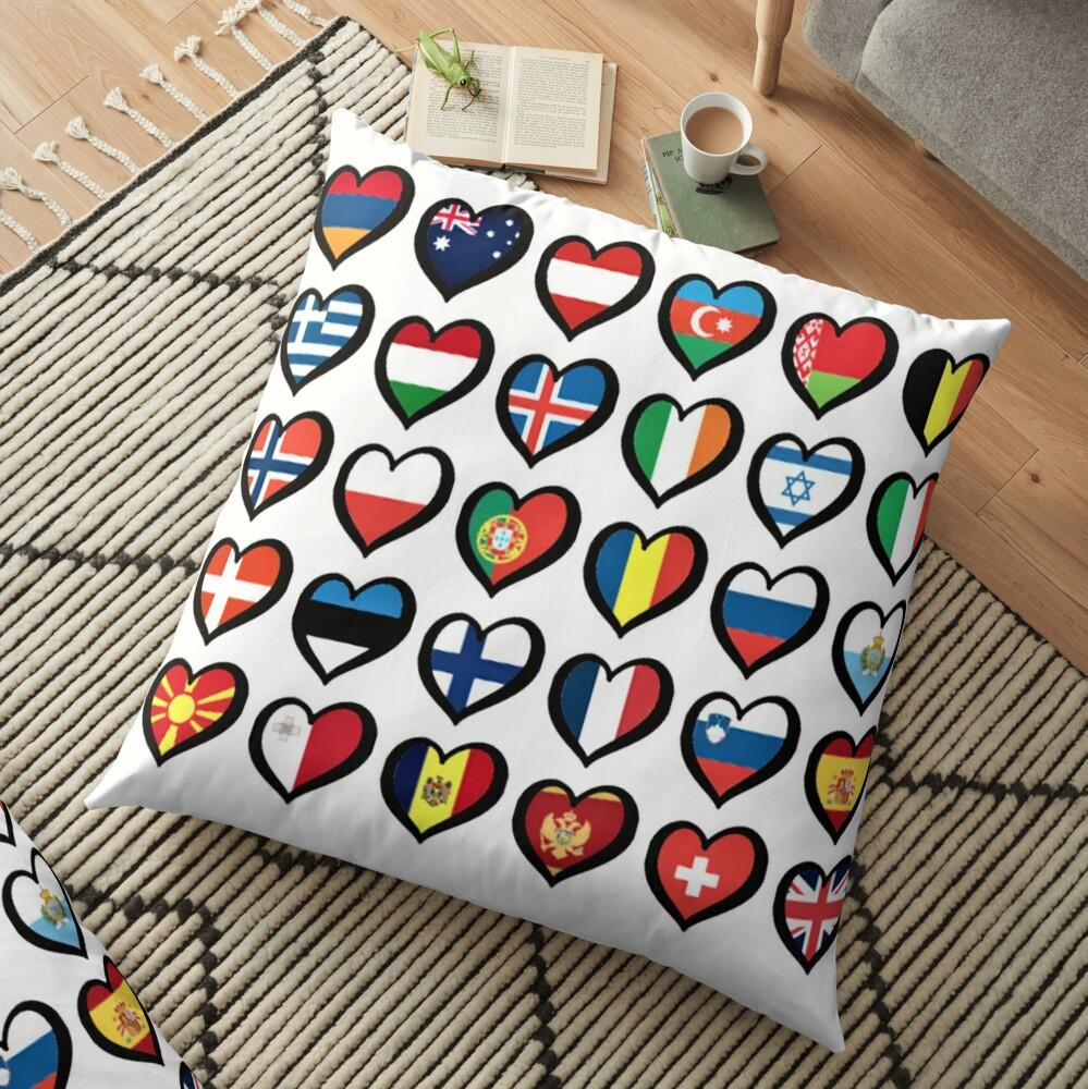 EBU Logo Eurovision Hearts  European Flags On Shirts Bags And Gadgets Floor Pillow