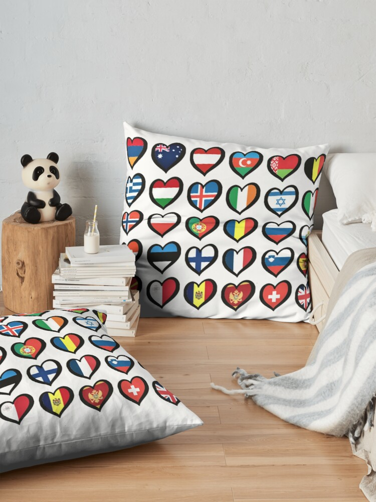 Alternate view of EBU Logo Eurovision Hearts  European Flags On Shirts Bags And Gadgets Floor Pillow