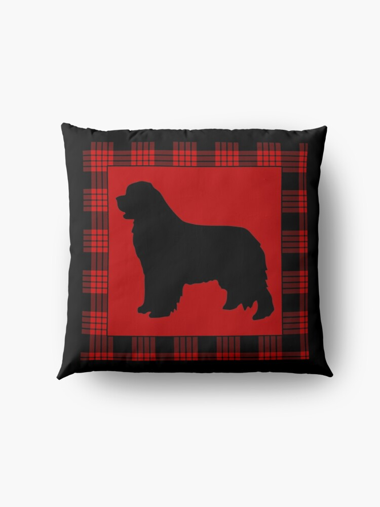 Alternate view of Red Plaid Newfie Floor Pillow