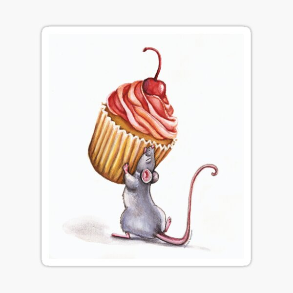 Mouse with yummy cupcake Sticker