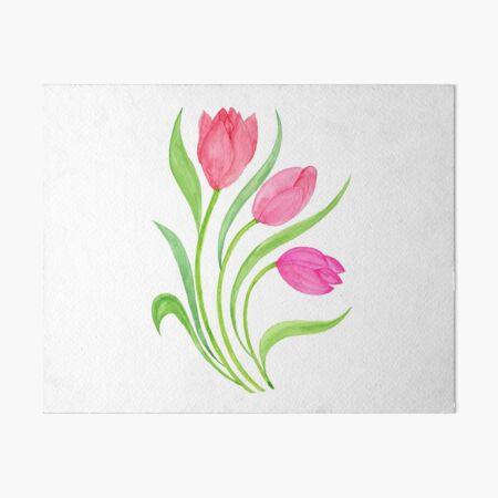 Watercolor Pink Tulips Art Board Print