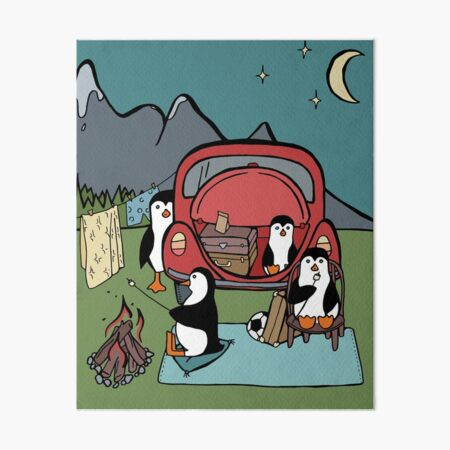 Penguin Family Stopping to Camp for the Night Art Board Print