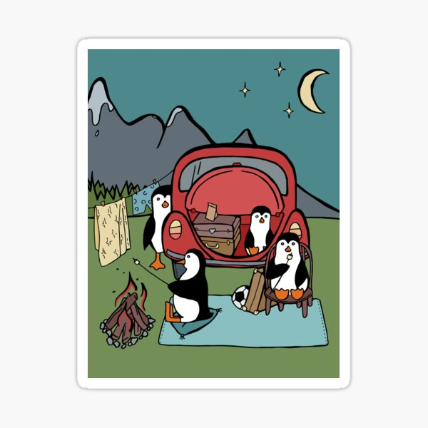 Penguin Family Stopping to Camp for the Night Sticker
