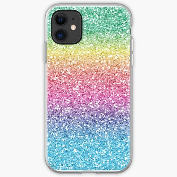 Rainbow Ombre Glitter iPhone Soft Case