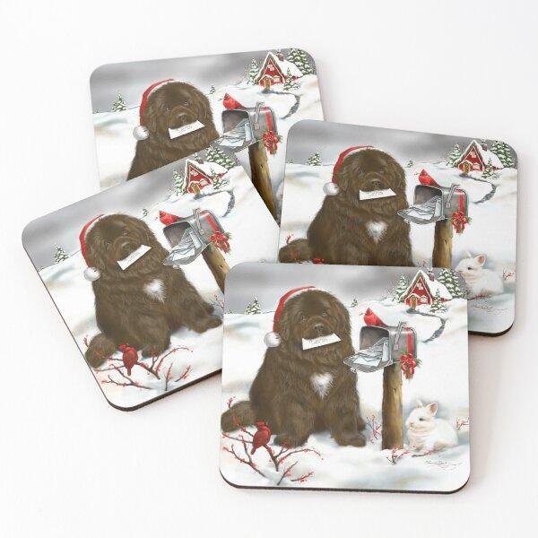 Christmas Brown Newfie Coasters (Set of 4)