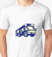 Camper Van Motor Home Woodcut T-Shirt