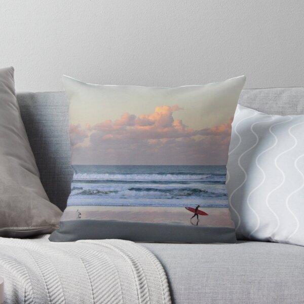 Cabarita surf at sunset Throw Pillow