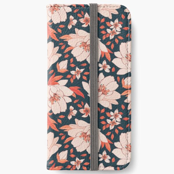 Red Floral Pattern iPhone Wallet