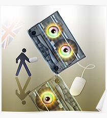 Cassette Tape Analogue Cartoon 4 Poster