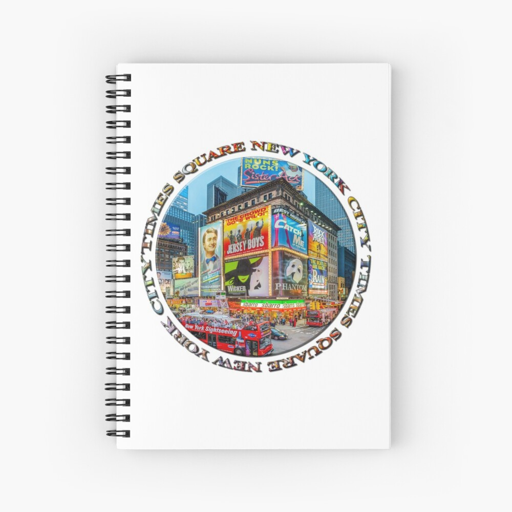 Times Square III (round badge on white) Spiral Notebook