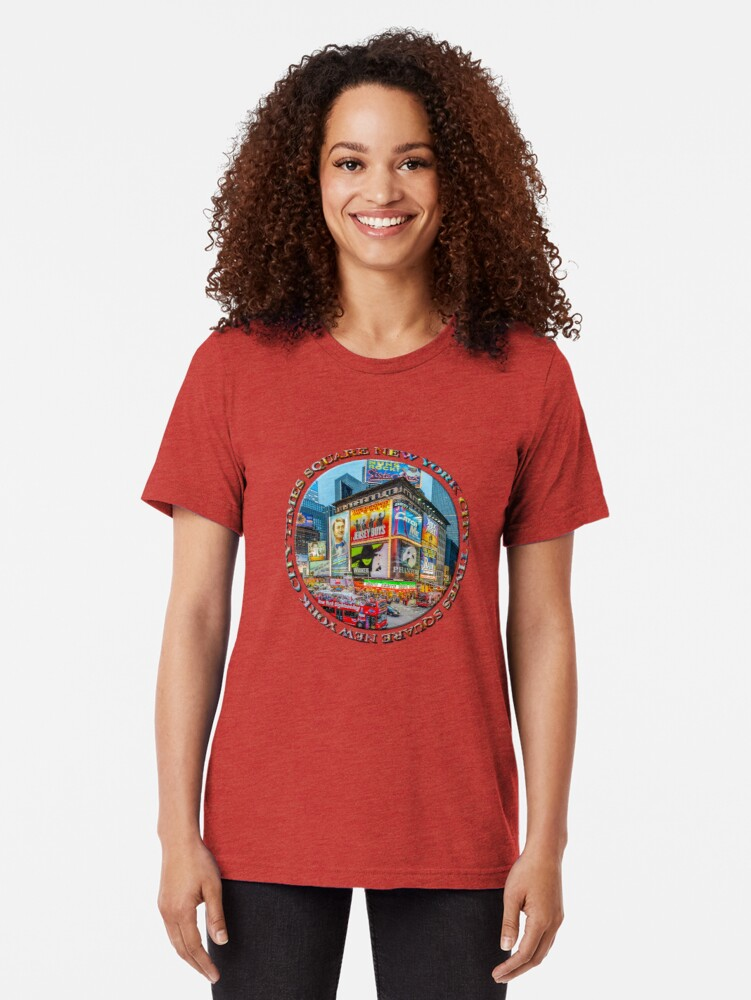 Alternate view of Times Square III (round badge on white) Tri-blend T-Shirt