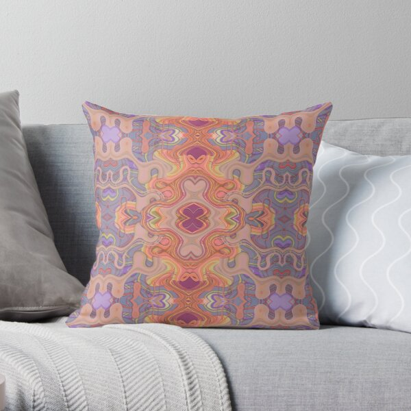 Purple and Coral Fun Geometric Throw Pillow