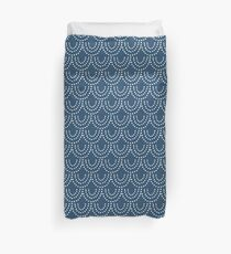 Dotted Scallop in Blue + White Duvet Cover