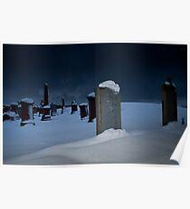 Snowy Gravestones Poster