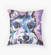 Schnauzer Bright colorful pop dog art Throw Pillow