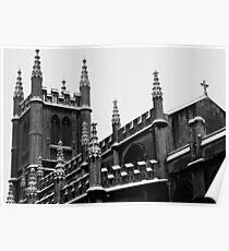 Snowy Church in Bath, England Poster