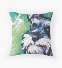 Schnauzer Bright colorful pop dog art Throw Pillow