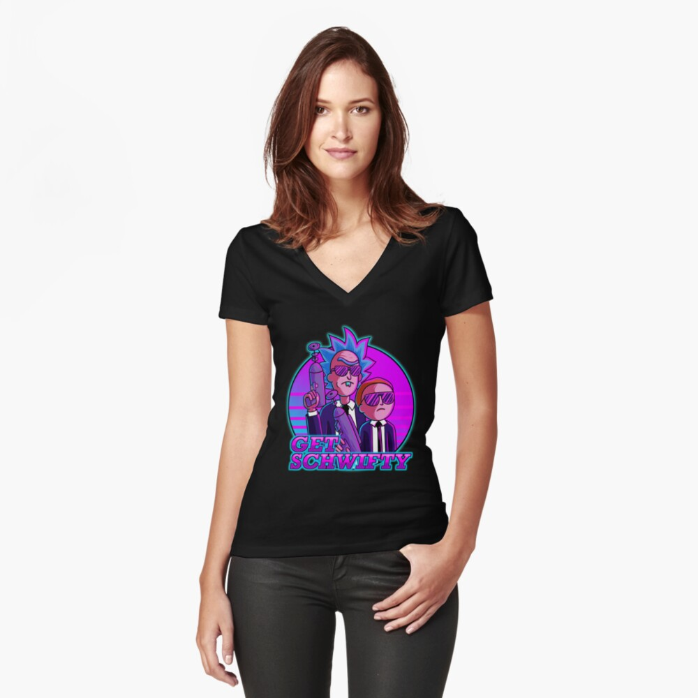 rick and morty get schwifty Fitted V-Neck T-Shirt