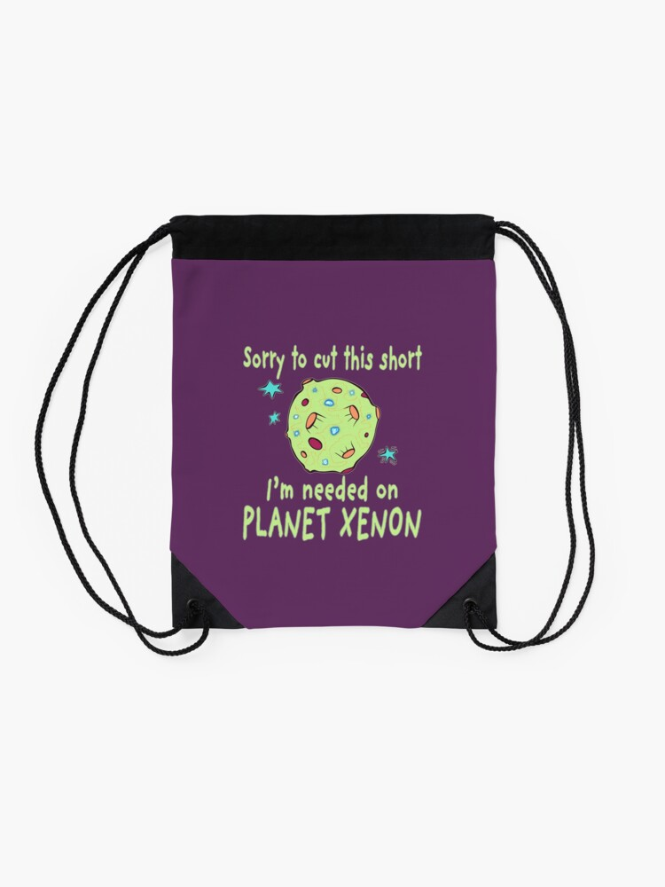 Alternate view of Planet Xenon. Drawstring Bag