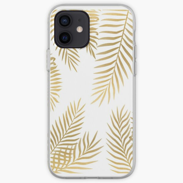 Gold palm leaves iPhone Soft Case