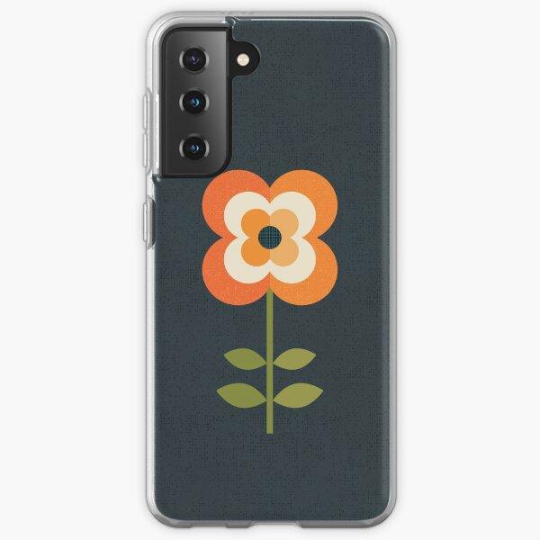 Retro Flower - Orange and Charcoal Samsung Galaxy Soft Case