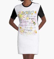 Happy new year 2020 Emoji JoyPixels 8 languages Graphic T-Shirt Dress