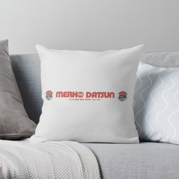 DATSUN DEALER STICKER Throw Pillow